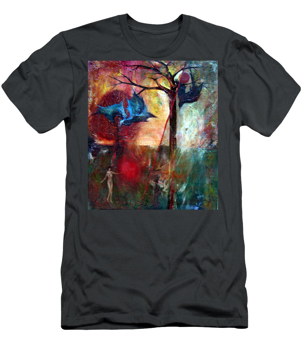 Colour Men's T-Shirt (Athletic Fit) featuring the painting I Am Near You by Wojtek Kowalski