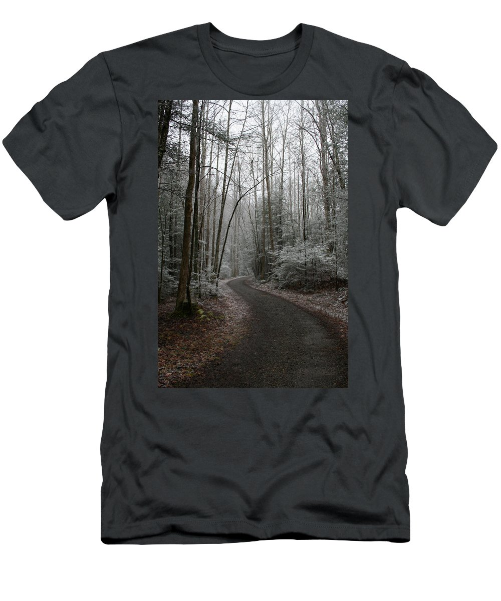 Nature Road Country Woods Forest Tree Trees Snow Winter Peaceful Quite Path White Forest Drive Men's T-Shirt (Athletic Fit) featuring the photograph I Am The Way by Andrei Shliakhau