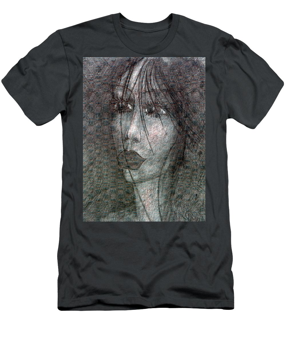 Psychedelic Men's T-Shirt (Athletic Fit) featuring the drawing I Miss For You by Wojtek Kowalski
