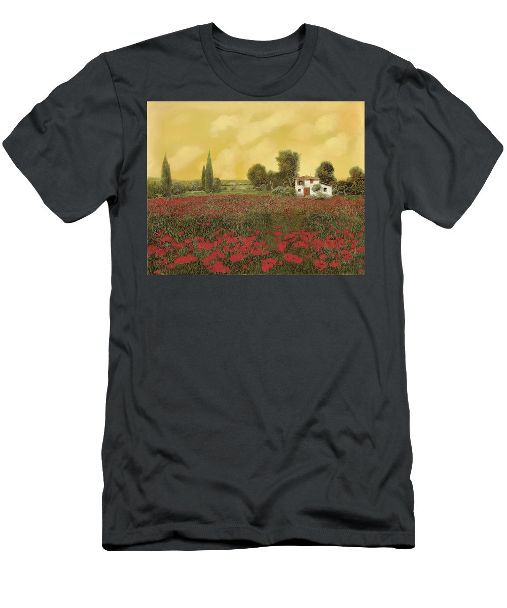 Summer Men's T-Shirt (Athletic Fit) featuring the painting I Papaveri E La Calda Estate by Guido Borelli