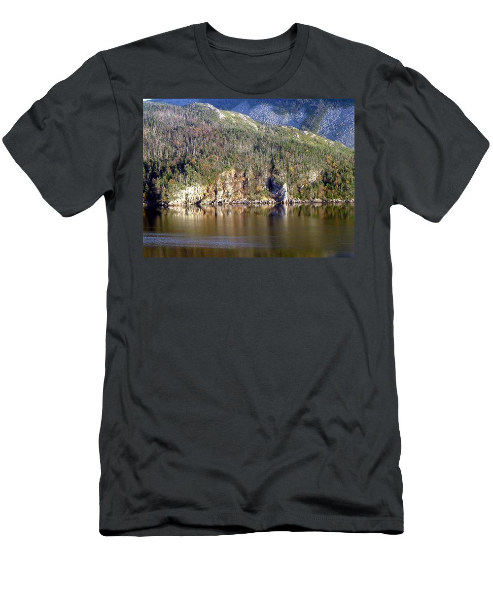 Ice Cliff Men's T-Shirt (Athletic Fit) featuring the photograph Ice Cliff In Autumn by Barbara Griffin