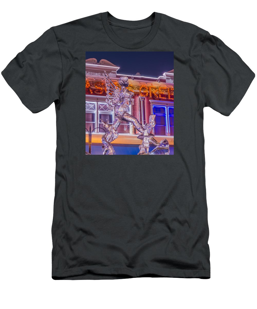 Ice Formations Men's T-Shirt (Athletic Fit) featuring the photograph The Annual Ice Sculpting Festival In The Colorado Rockies, The Beguiling Siren by Bijan Pirnia