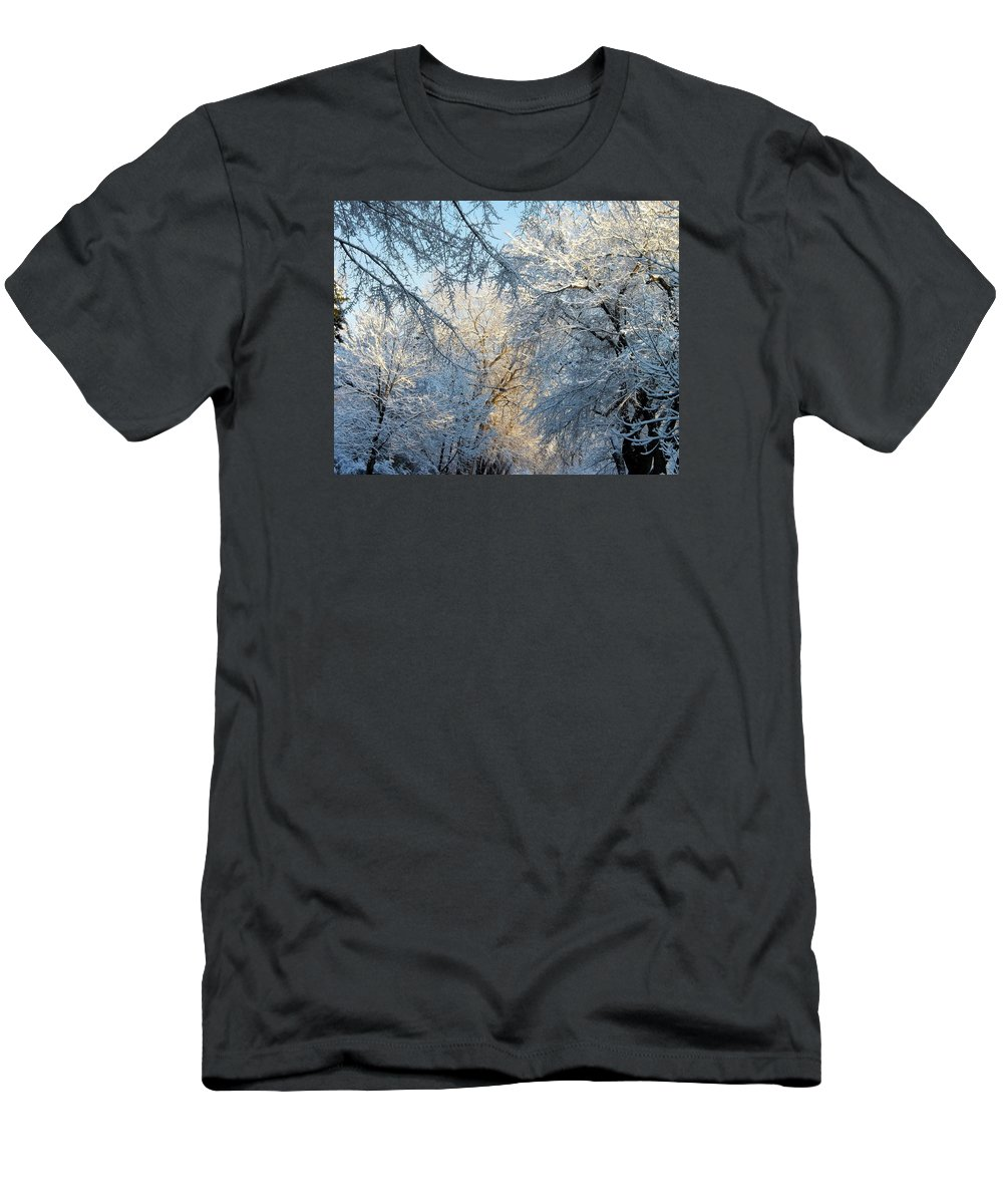 Ice On Trees Men's T-Shirt (Athletic Fit) featuring the photograph Ice Storm On The 6th IIi by Jacqueline Russell