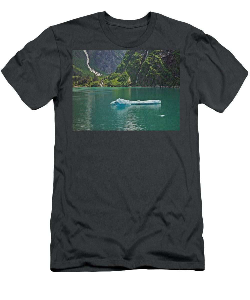 Iceburg Men's T-Shirt (Athletic Fit) featuring the photograph Ice Tracy Arm Alaska by Heather Coen
