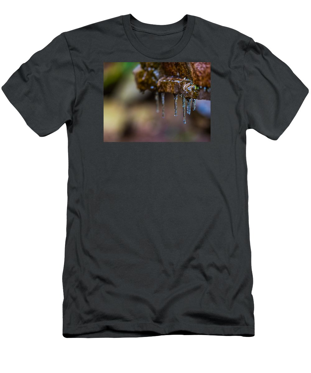 Icicles Men's T-Shirt (Athletic Fit) featuring the photograph Icicles 1 by Dan Ketelsen