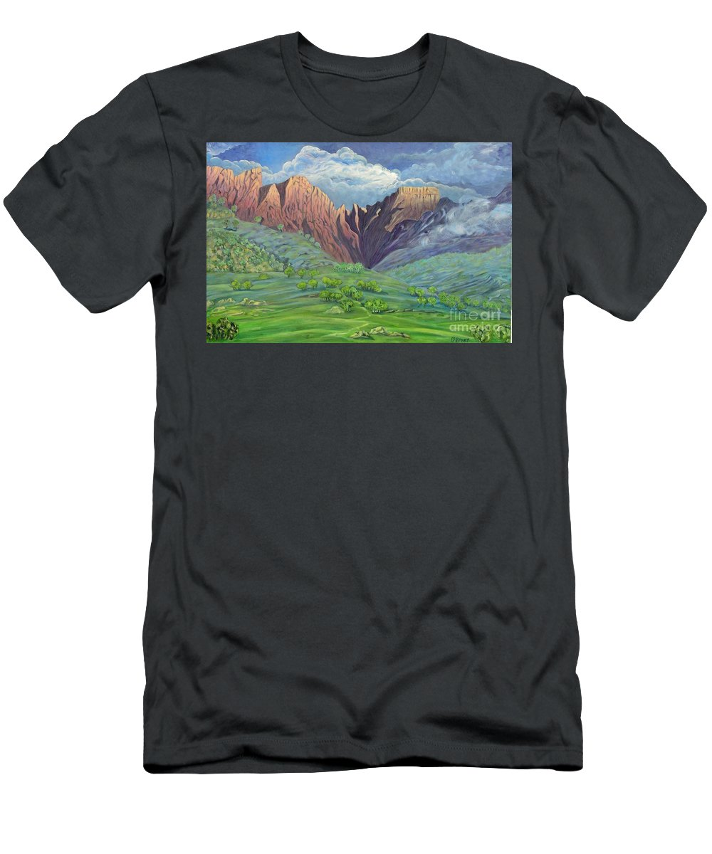 Landscape Men's T-Shirt (Athletic Fit) featuring the painting Icidi Valley by Caroline Street