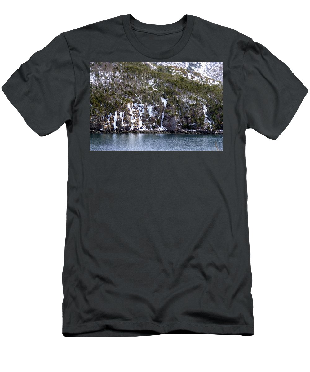 Ice Cliff Men's T-Shirt (Athletic Fit) featuring the photograph Icy Cliff In Winter by Barbara Griffin