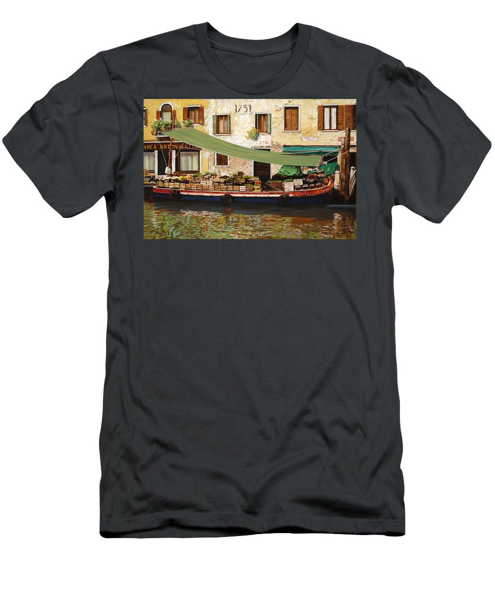 Venice Men's T-Shirt (Athletic Fit) featuring the painting il mercato galleggiante a Venezia by Guido Borelli