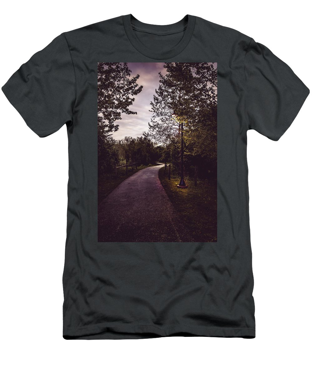 Howard Men's T-Shirt (Athletic Fit) featuring the photograph Illuminated Foot Path by Howard Roberts