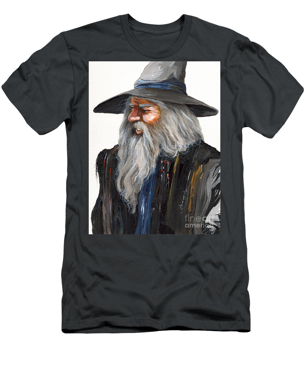Fantasy Art Men's T-Shirt (Athletic Fit) featuring the painting Impressionist Wizard by J W Baker