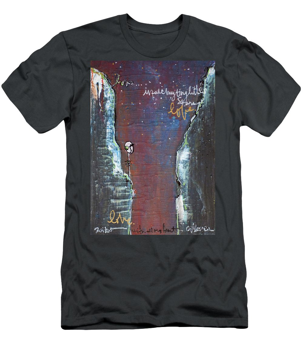 Cliffs Men's T-Shirt (Athletic Fit) featuring the painting In All My Tiny Little Stars by Laurie Maves ART