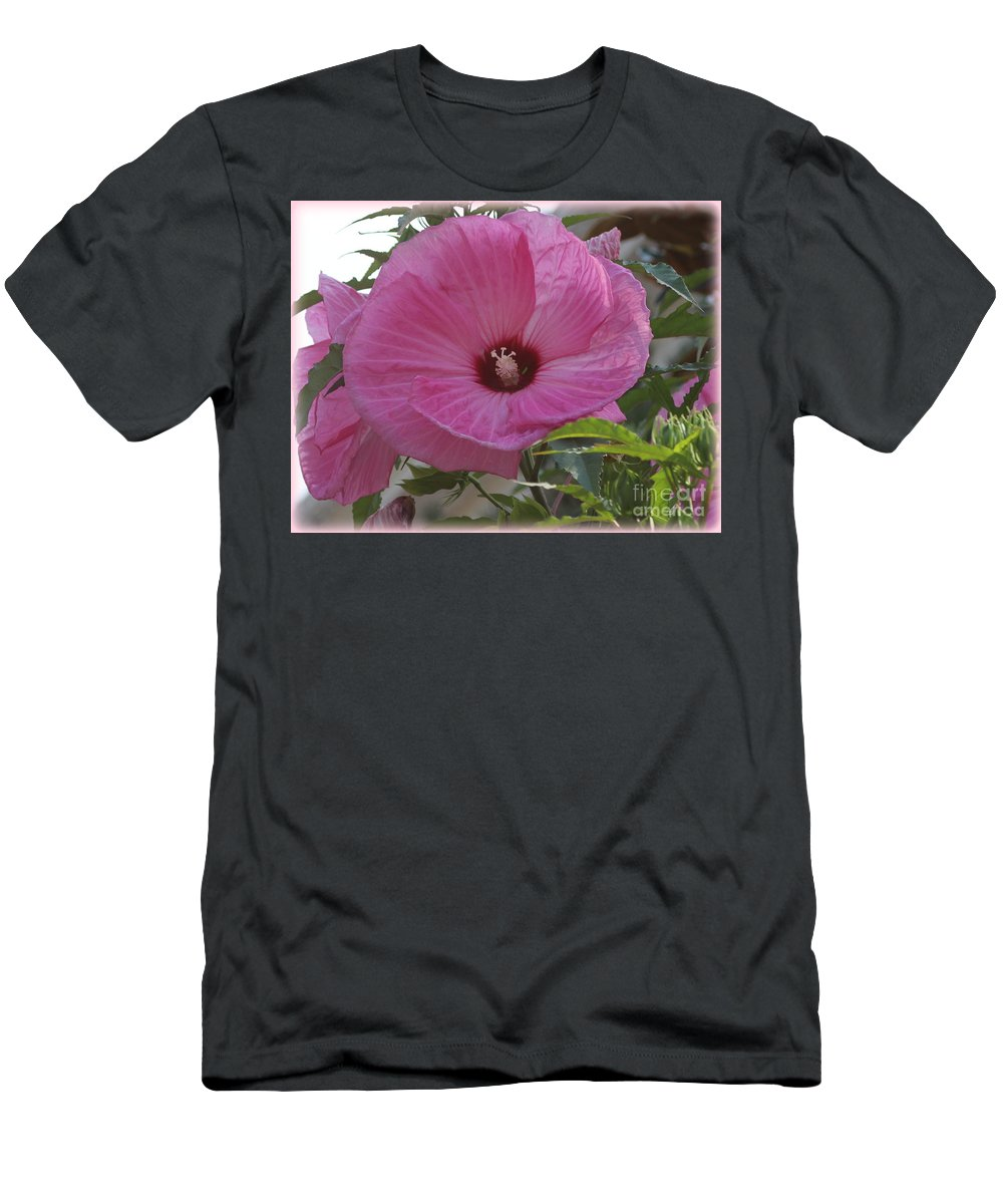 Hibiscus Men's T-Shirt (Athletic Fit) featuring the photograph In Bloom - Pink Hibiscus by Dora Sofia Caputo Photographic Design and Fine Art