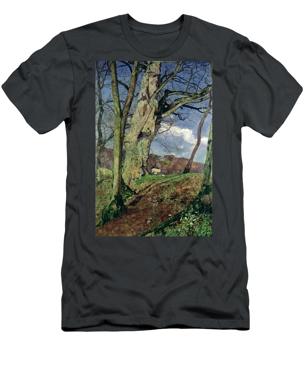 In Early Spring: A Study In March (oil On Canvas) By John William Inchbold (1830-88) Men's T-Shirt (Athletic Fit) featuring the painting In Early Spring by John William Inchbold