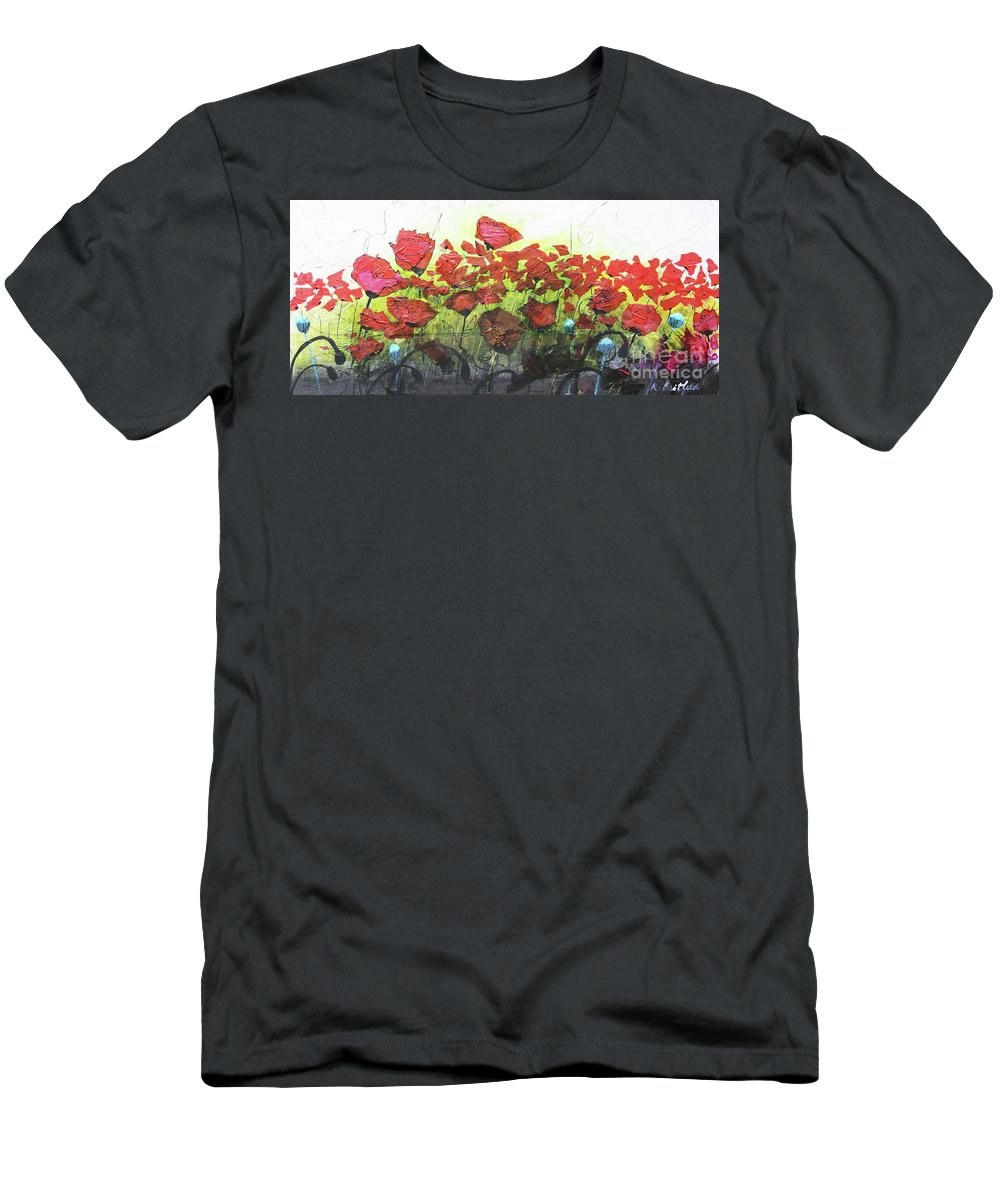 Abstract Men's T-Shirt (Athletic Fit) featuring the painting Fields Of Poppies by Karla Britfeld