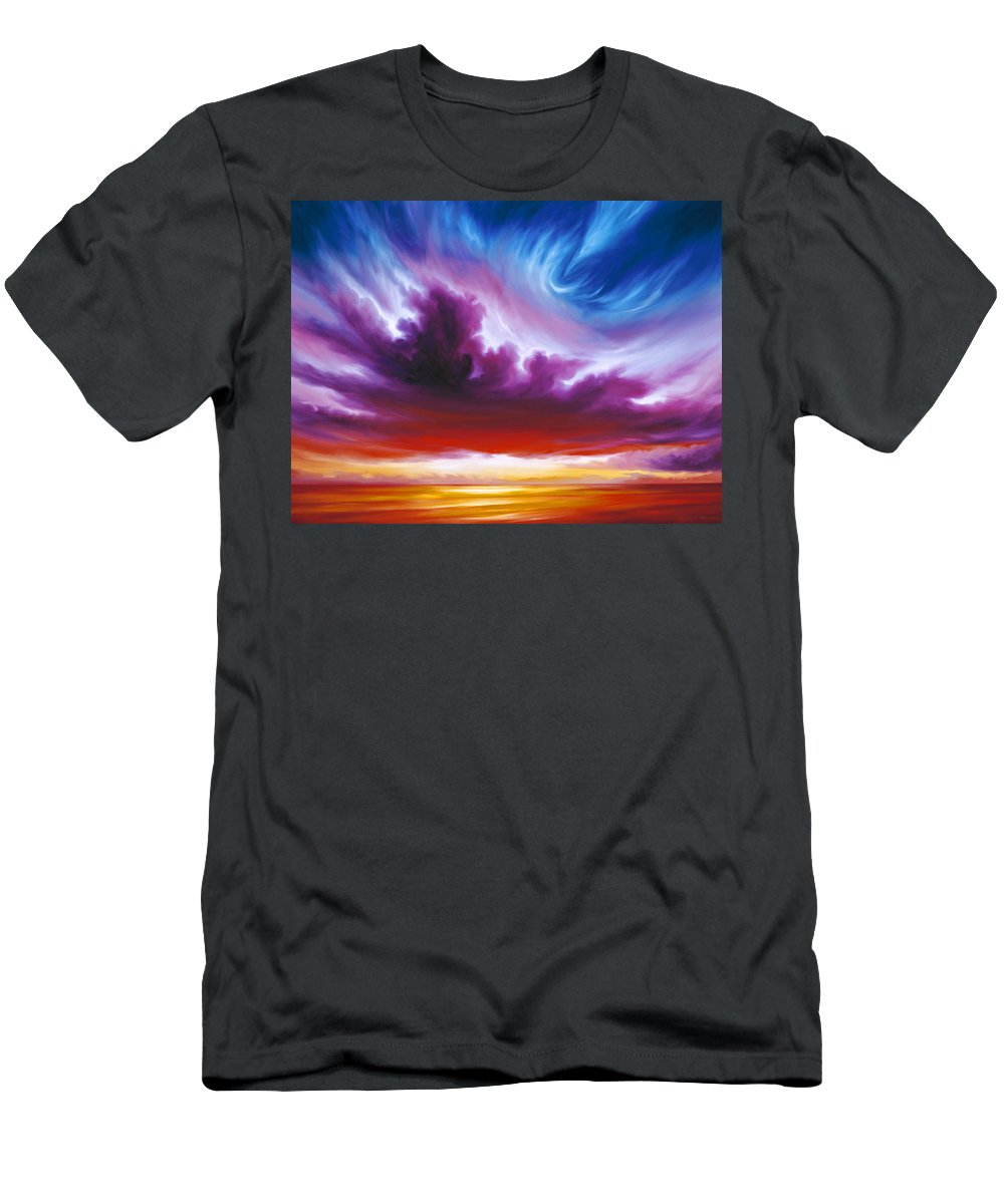 Sunrise; Sunset; Power; Glory; Cloudscape; Skyscape; Purple; Red; Blue; Stunning; Landscape; James C. Hill; James Christopher Hill; Jameshillgallery.com; Ocean; Lakes; Genesis; Creation; Quantom; Singularity T-Shirt featuring the painting In the Beginning by James Christopher Hill