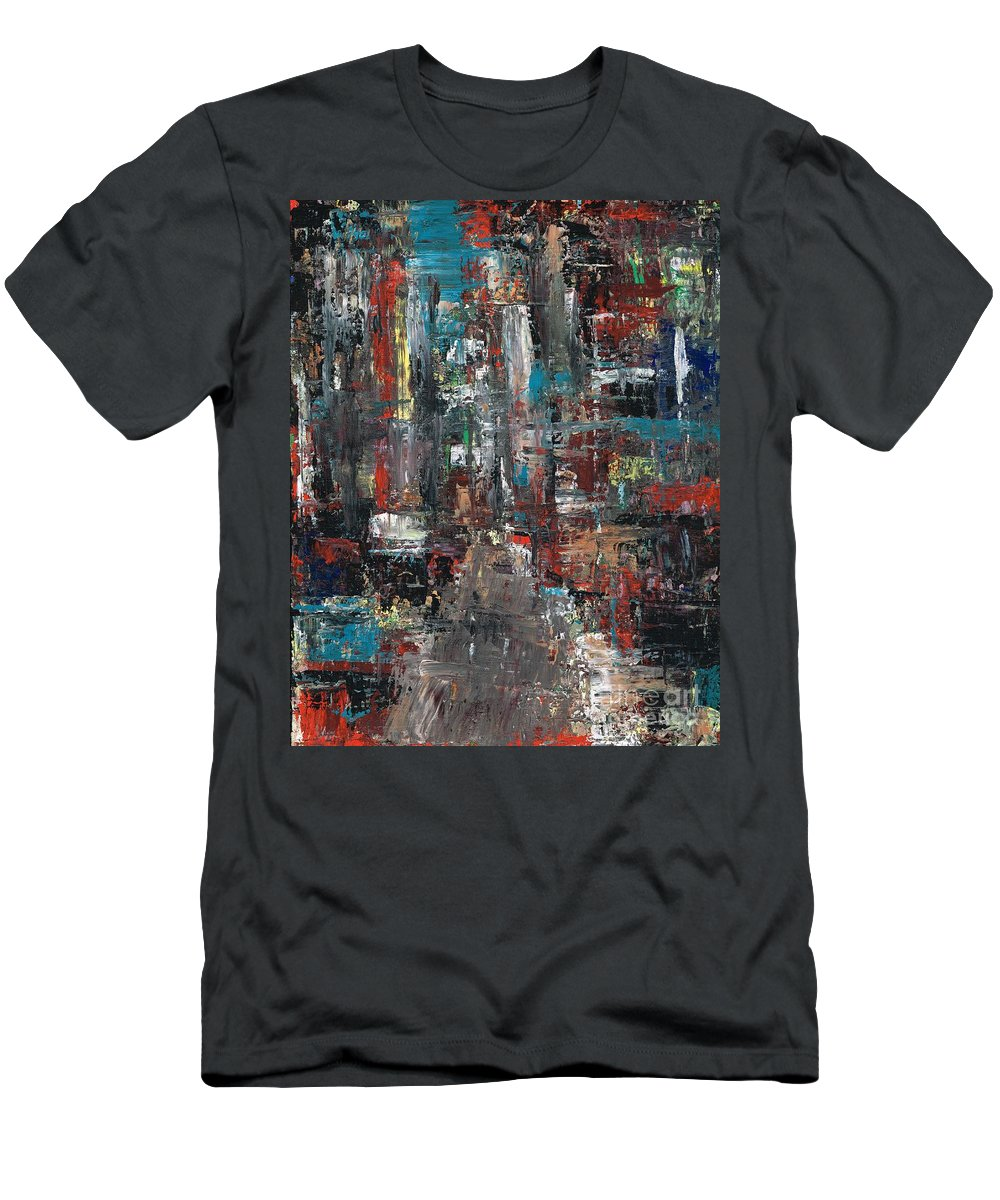 Cities Men's T-Shirt (Athletic Fit) featuring the painting In The City by Frances Marino
