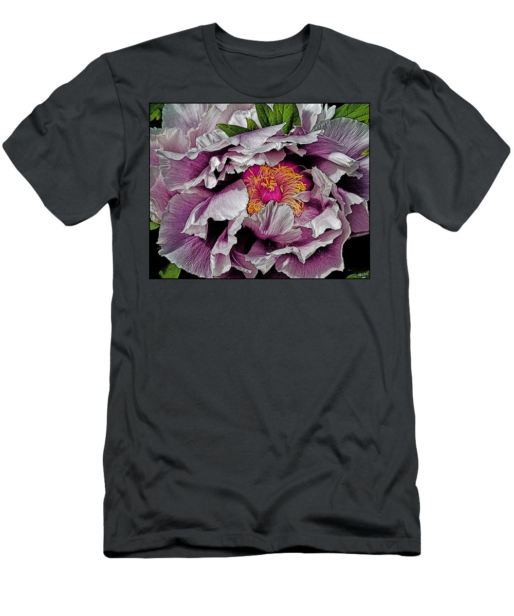 Flower Men's T-Shirt (Athletic Fit) featuring the photograph In The Eye Of The Peony by Chris Lord