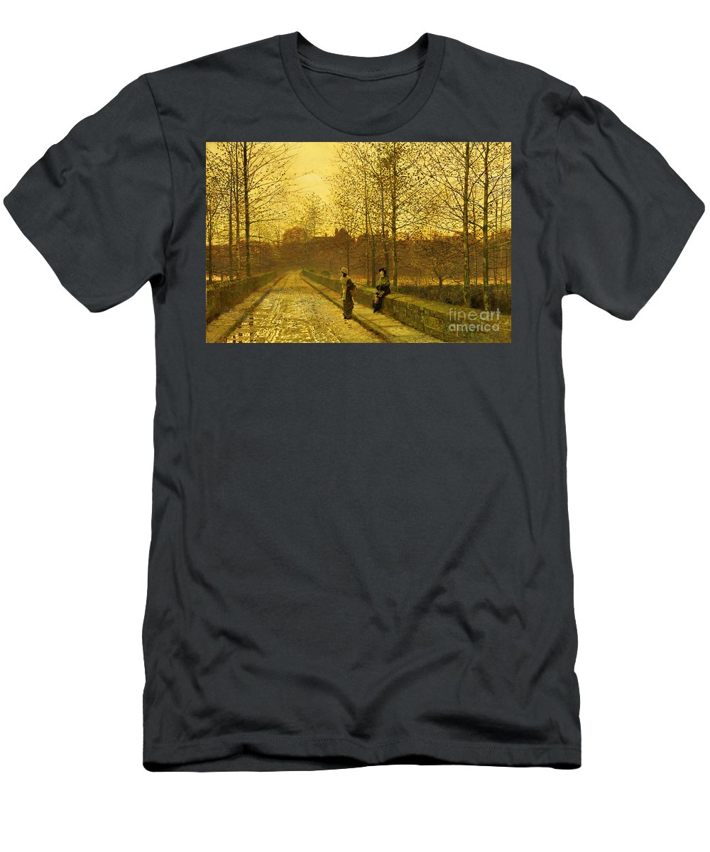 The Men's T-Shirt (Athletic Fit) featuring the painting In The Golden Gloaming by John Atkinson Grimshaw