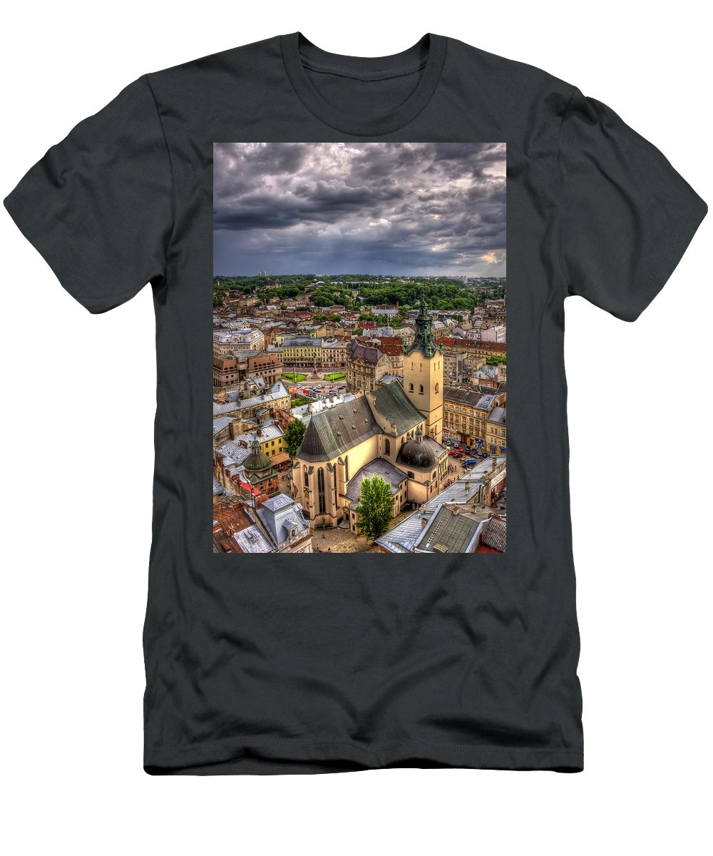 Above Men's T-Shirt (Athletic Fit) featuring the photograph In The Heart Of The City by Evelina Kremsdorf