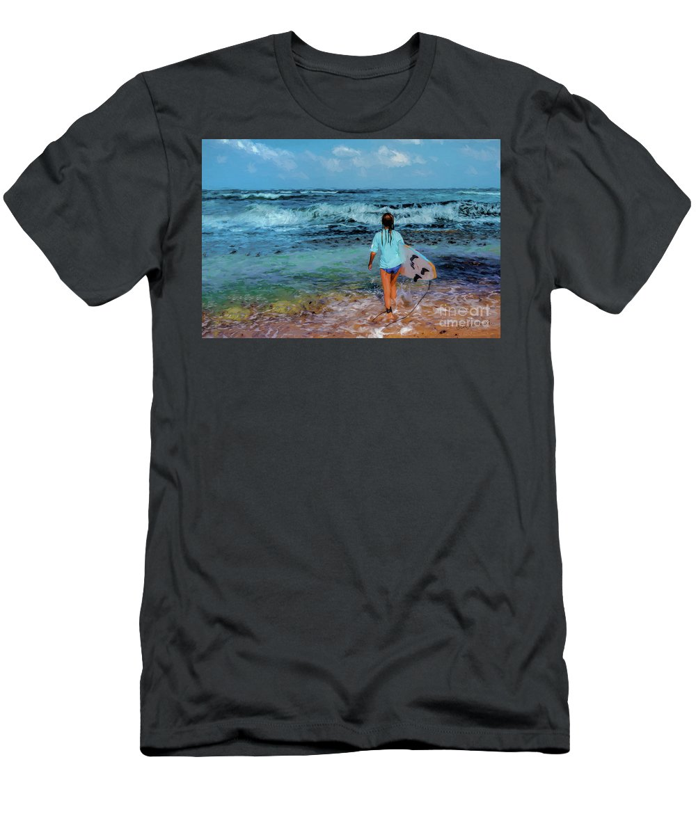 Women Men's T-Shirt (Athletic Fit) featuring the digital art In The Hope Of A Big Wave by Benjamin Gelman