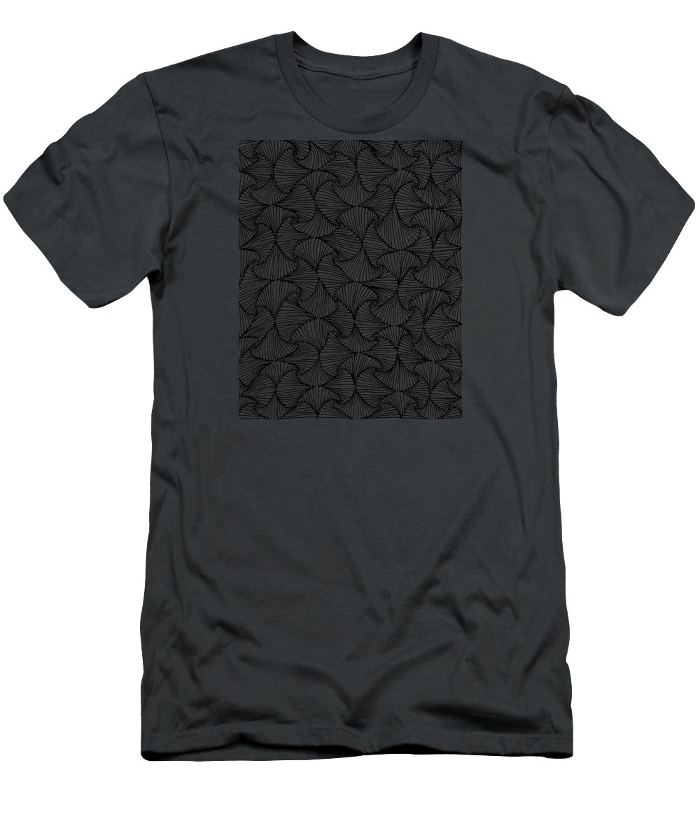 Black And White Men's T-Shirt (Athletic Fit) featuring the drawing In The Moment by A Mad Doodler