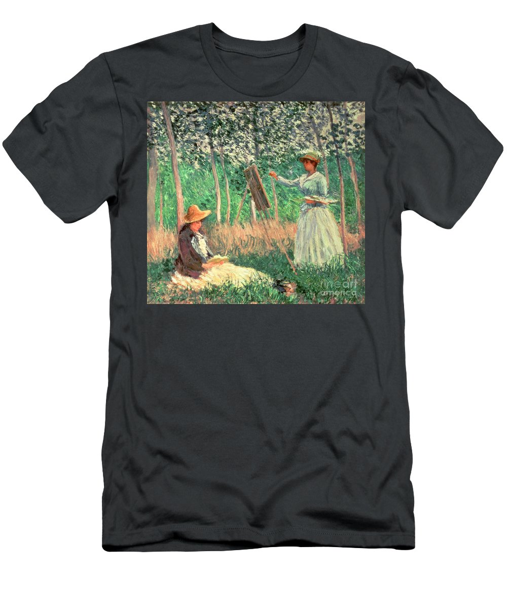 Claude Monet Men's T-Shirt (Athletic Fit) featuring the painting In The Woods At Giverny by Claude Monet