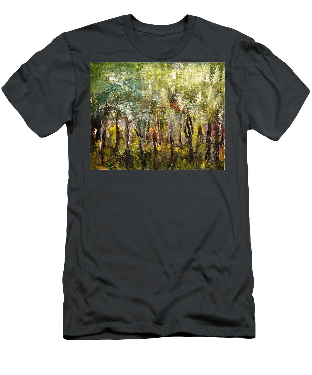 Trees T-Shirt featuring the painting In The Woods by Evelina Popilian