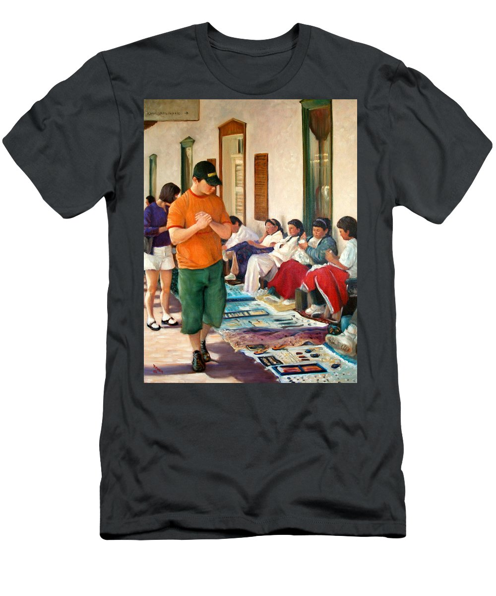 Realism Men's T-Shirt (Athletic Fit) featuring the painting Indian Market by Donelli DiMaria