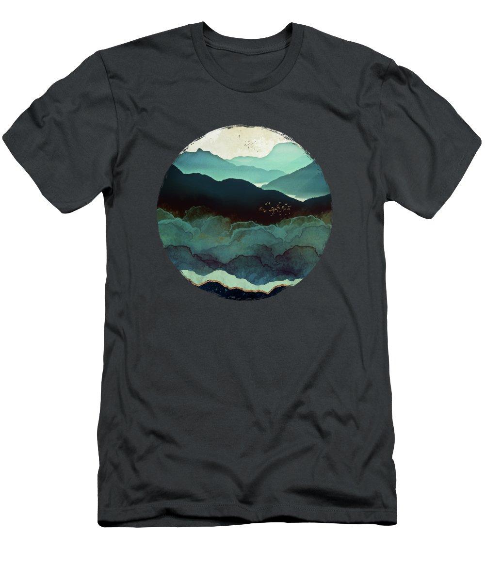 Indigo T-Shirt featuring the digital art Indigo Mountains by Spacefrog Designs