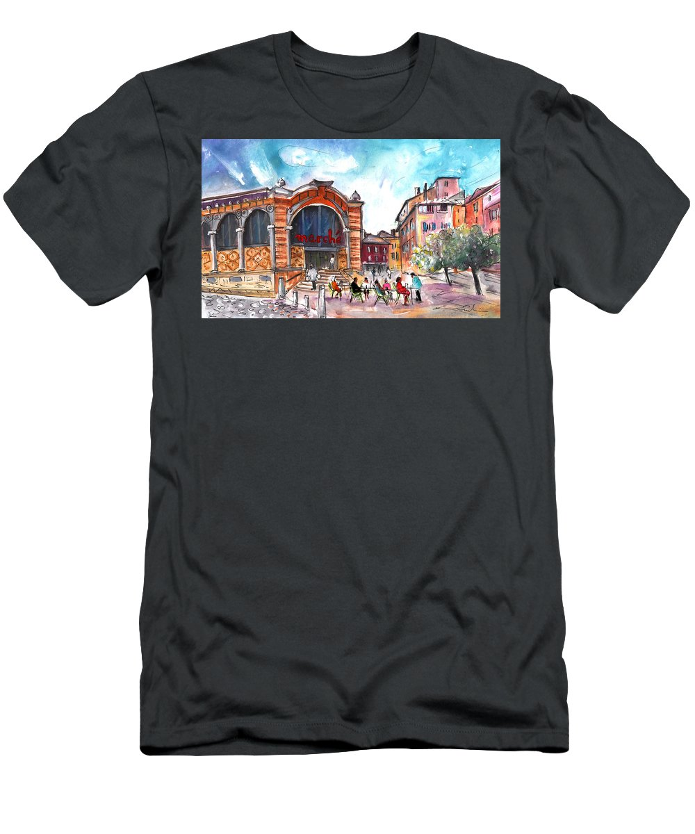 Travel Men's T-Shirt (Athletic Fit) featuring the painting Indoor Market In Albi by Miki De Goodaboom