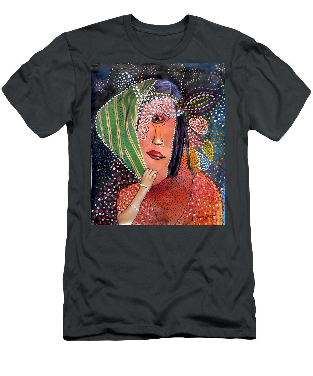 Woman T-Shirt featuring the mixed media Indra by Veronica Jackson