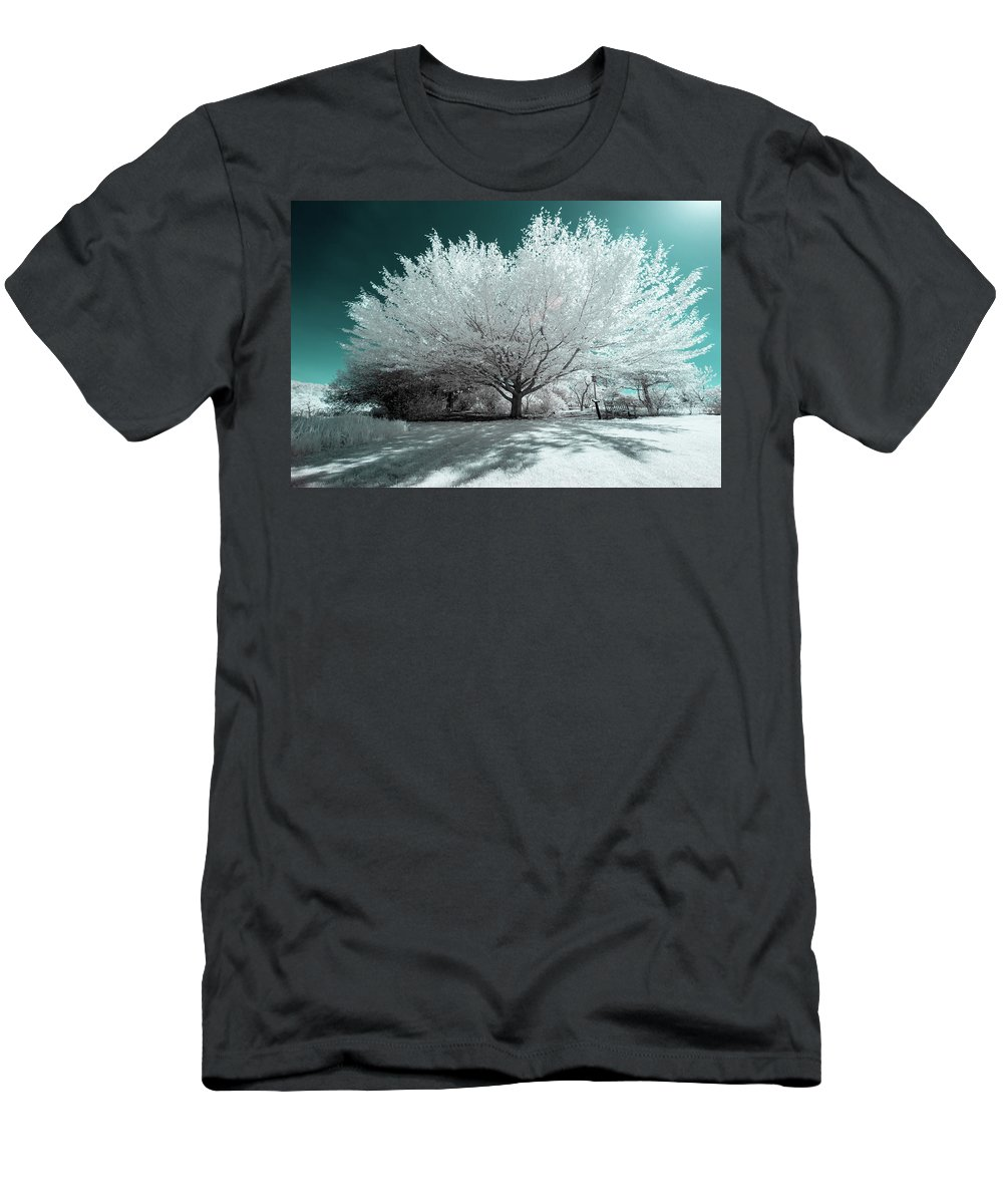 Infrared Ir Infra Red 720 720nm Nanometer Nm Outside Outdoors Nature Natural Sky Newengland New England Ma Mass Massachusetts Boylston Grass Branches Tree Trees Brian Hale Brianhalephoto Men's T-Shirt (Athletic Fit) featuring the photograph Infrared Tree Blue by Brian Hale