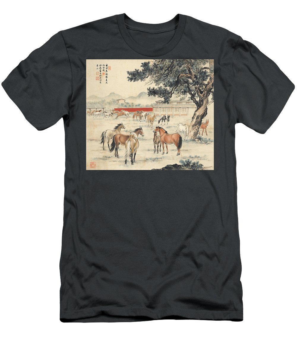 Ma Jin Men's T-Shirt (Athletic Fit) featuring the painting Ink Painting Horse by Ma Jin