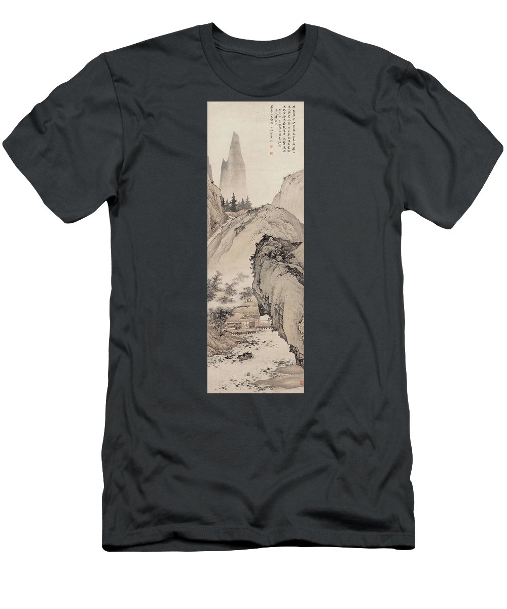 Chen Yun Men's T-Shirt (Athletic Fit) featuring the painting Ink Painting Landscape House by Chen Yun