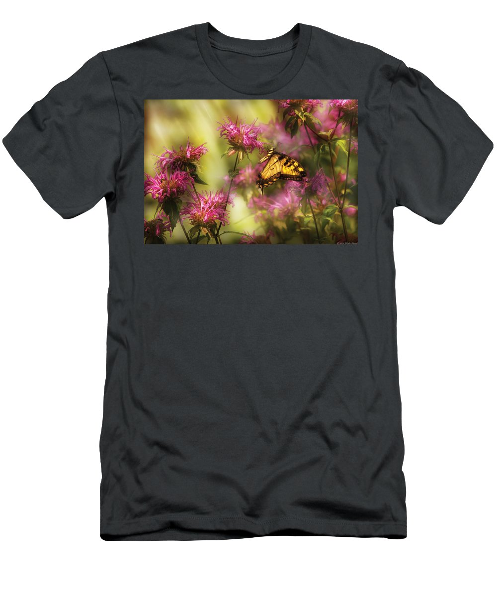 Savad Men's T-Shirt (Athletic Fit) featuring the photograph Insect - Butterfly - Golden Age by Mike Savad