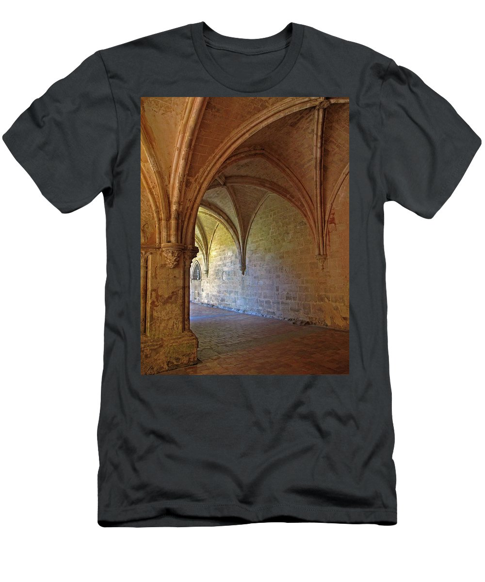 Monastery Men's T-Shirt (Athletic Fit) featuring the photograph Inside A Monastery Dordogne France by Dave Mills