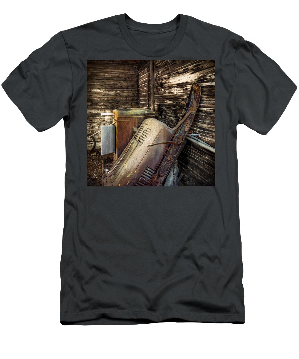 Barn Men's T-Shirt (Athletic Fit) featuring the photograph Inside Barn by Wayne Sherriff