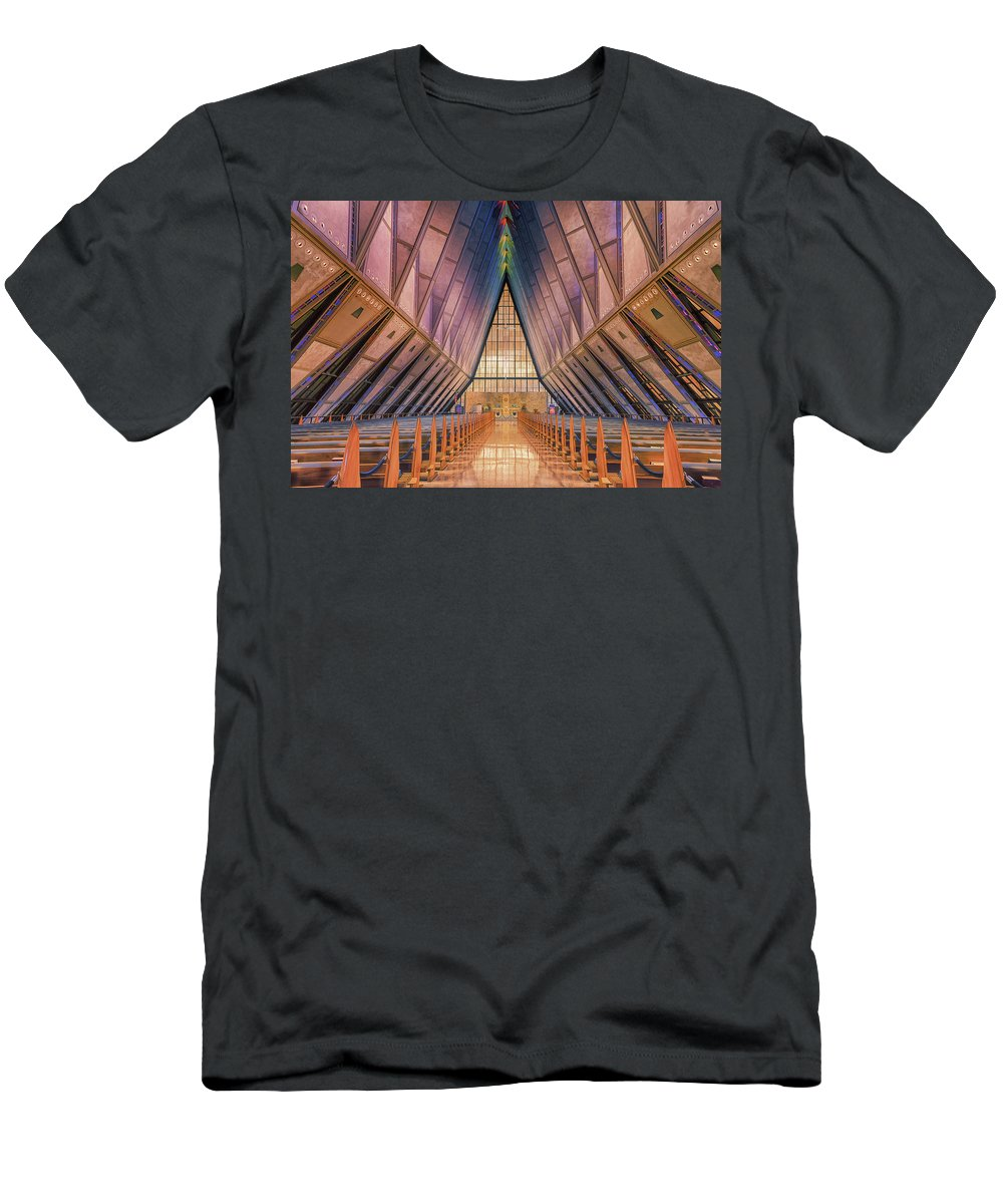 Luis A Ramirez Men's T-Shirt (Athletic Fit) featuring the photograph Inside The Cadet Chapel by Luis A Ramirez