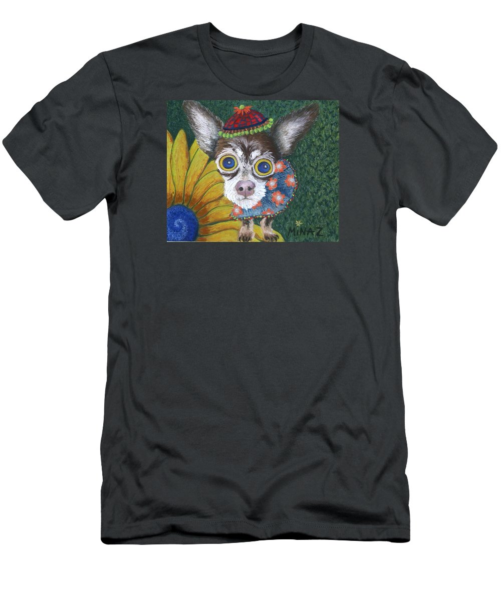 Chihuahua T-Shirt featuring the painting Inside Van Gogh's Garden Sits Sunflower Sally by Minaz Jantz