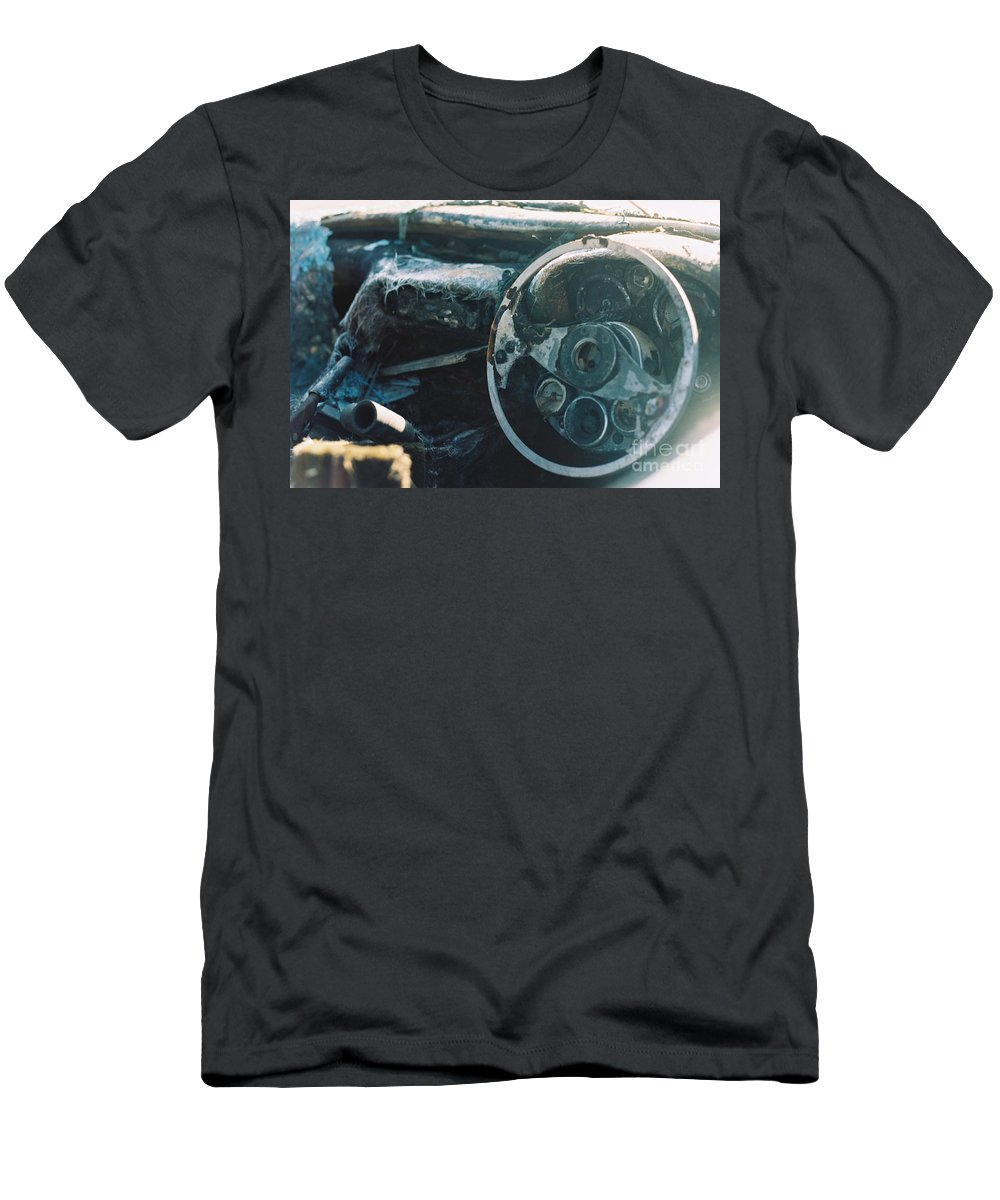 Car Men's T-Shirt (Athletic Fit) featuring the photograph The Slow Disintegration Of A Tvr Dashboard by Karl A Hjatland