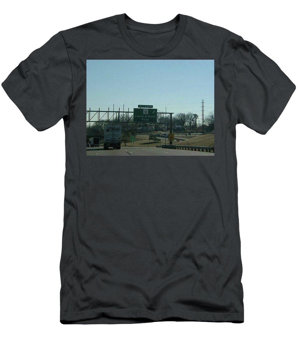 St. Louis Men's T-Shirt (Athletic Fit) featuring the photograph Interstate 70 East At Lucas And Hunt Rd Exit, 1999 by Dwayne