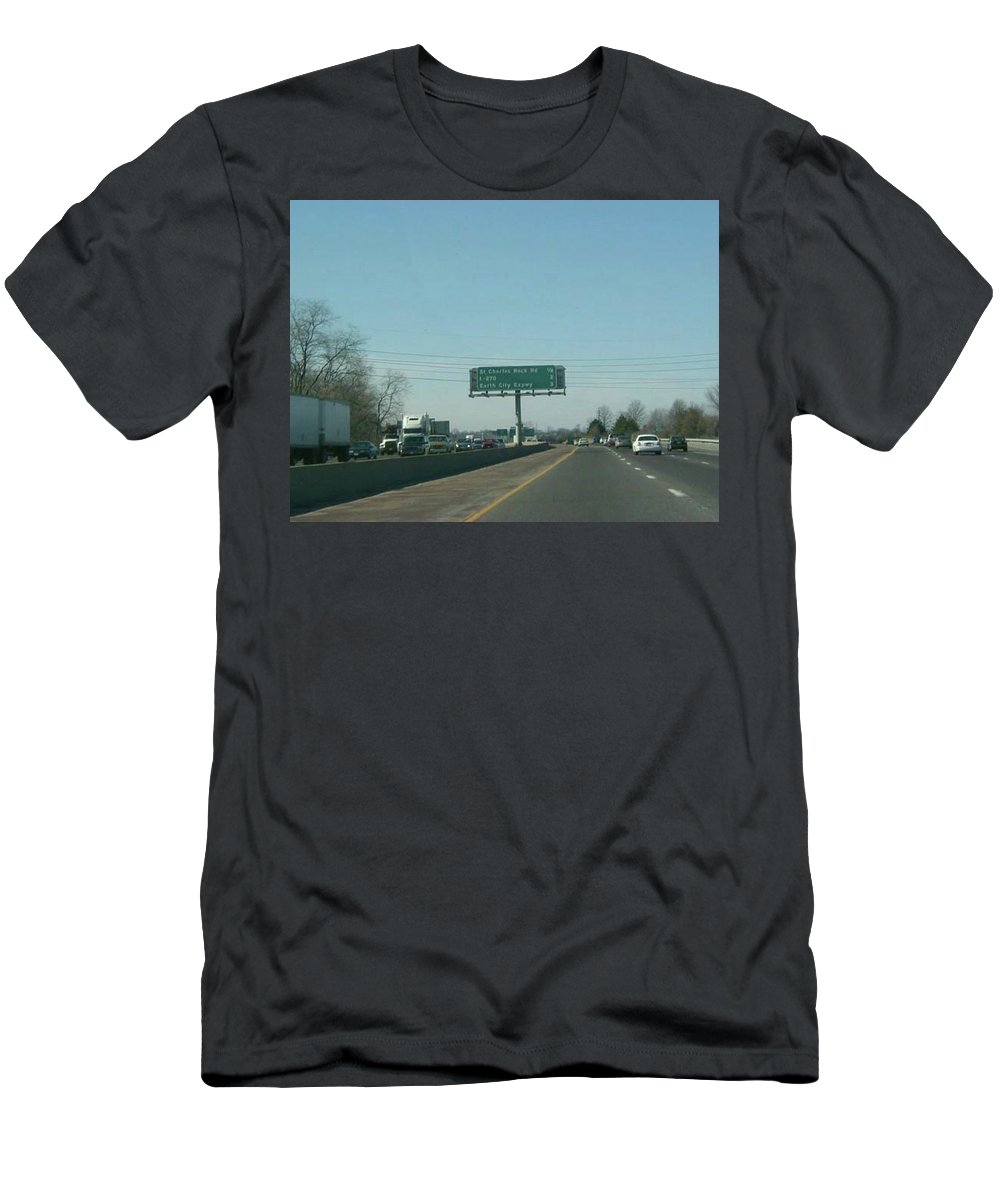St. Louis Men's T-Shirt (Athletic Fit) featuring the photograph Interstate 70 West Approach Route 180 Exit, 1999 by Dwayne