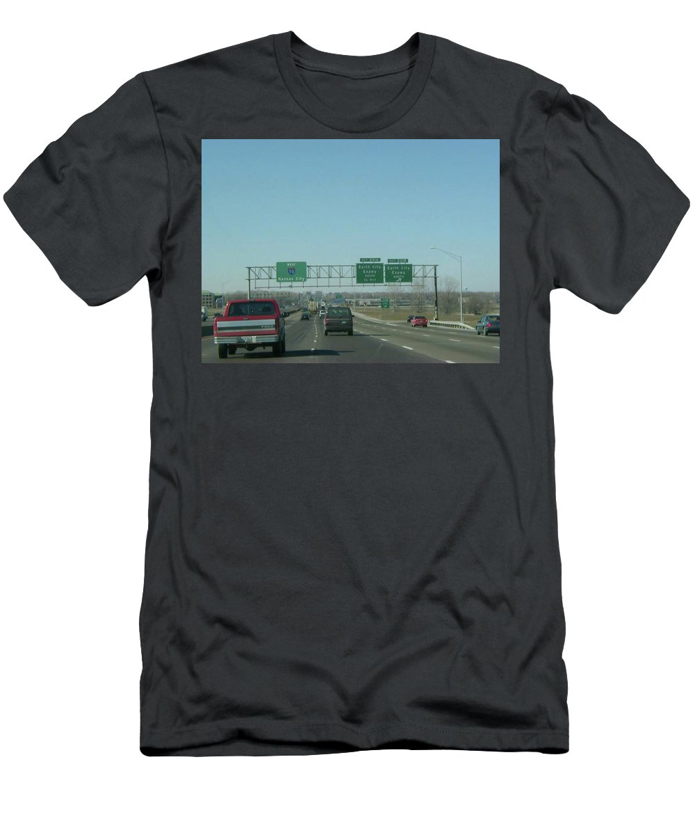St. Louis Men's T-Shirt (Athletic Fit) featuring the photograph Interstate 70 West At Exit 231b, Earth City Expwy North Exit, 1999 by Dwayne