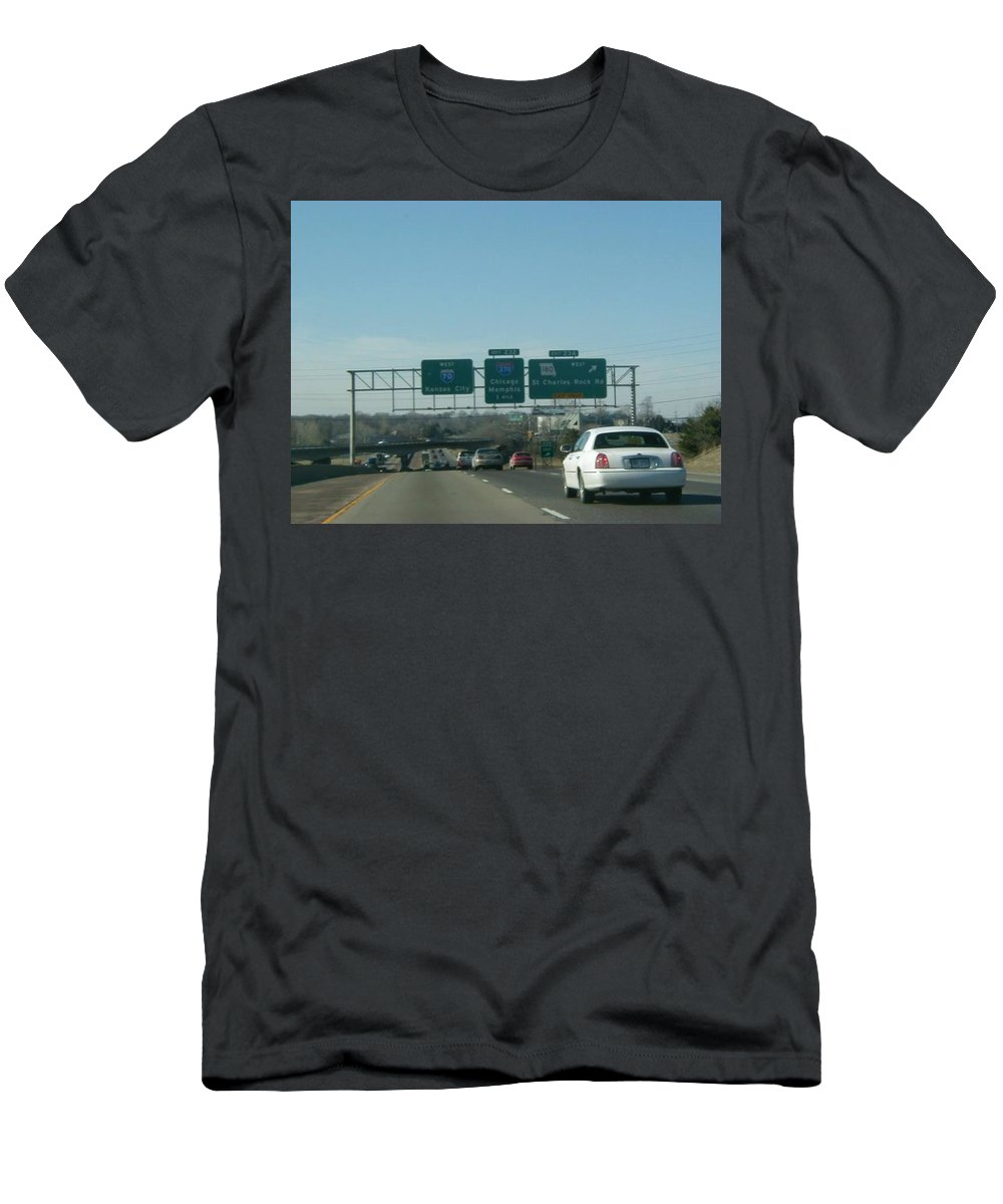 St. Louis Men's T-Shirt (Athletic Fit) featuring the photograph Interstate 70 West At Exit 234, Route 180 West Exit, 1999 by Dwayne