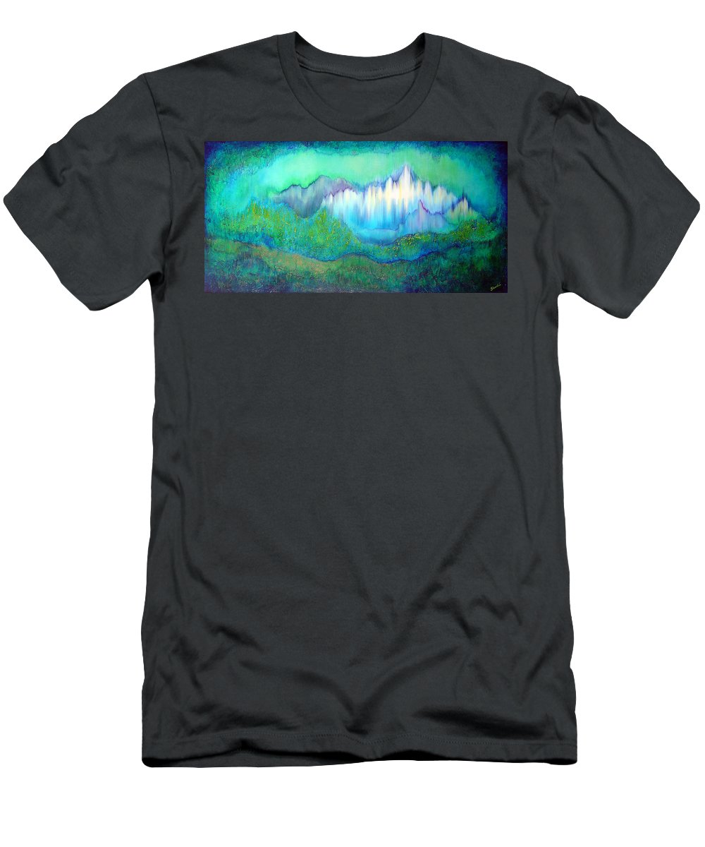 Blue Men's T-Shirt (Athletic Fit) featuring the painting Into The Ocean by Shadia Derbyshire