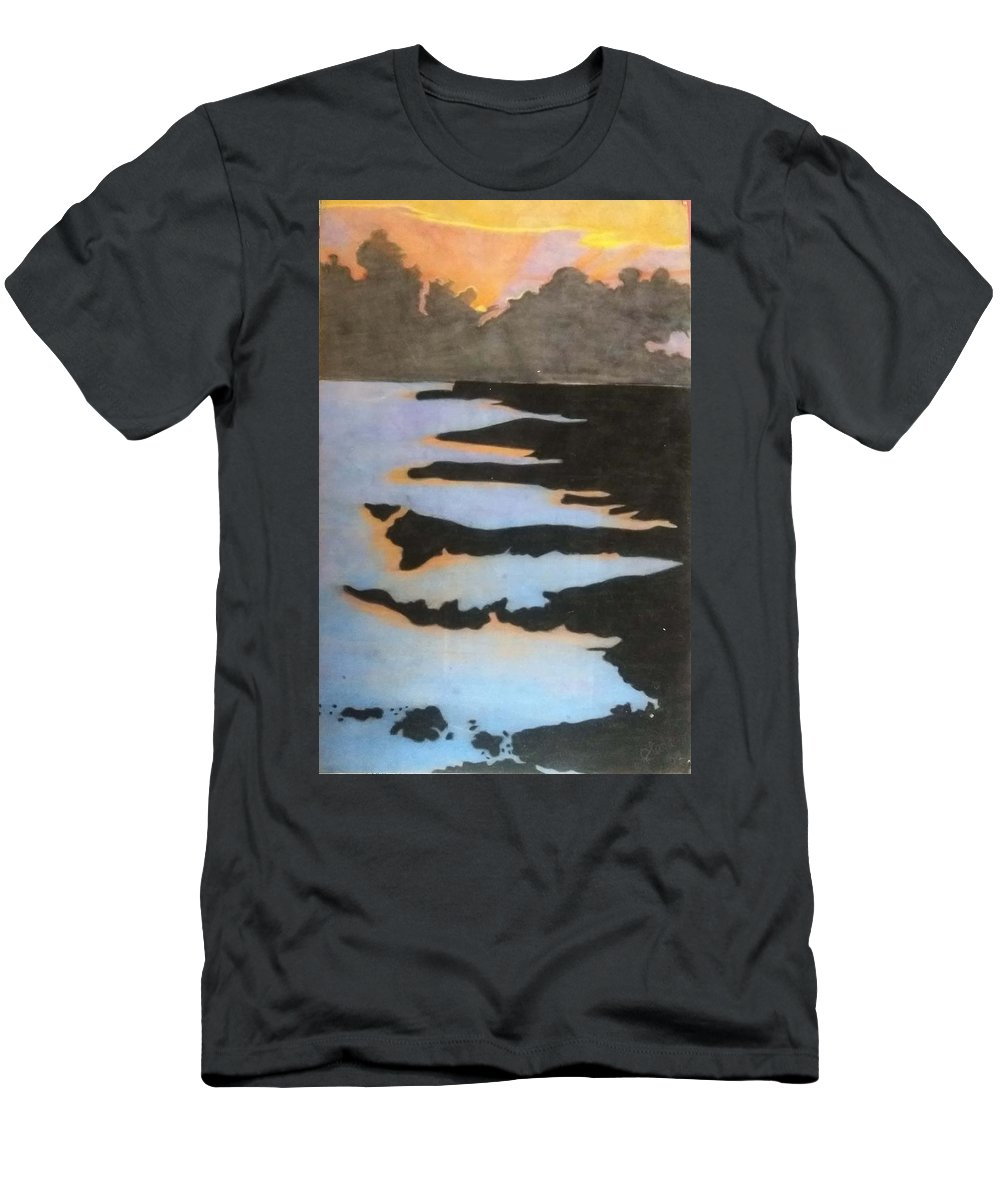 Sunset Men's T-Shirt (Athletic Fit) featuring the pastel Into The Sunset by Sara Baker