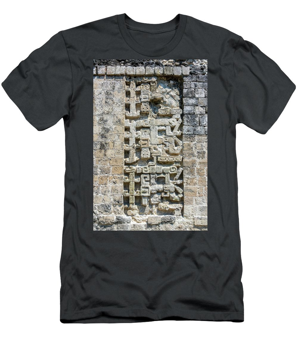 Chicanna Men's T-Shirt (Athletic Fit) featuring the photograph Intricate Details Of Mayan Ruins by Jess Kraft