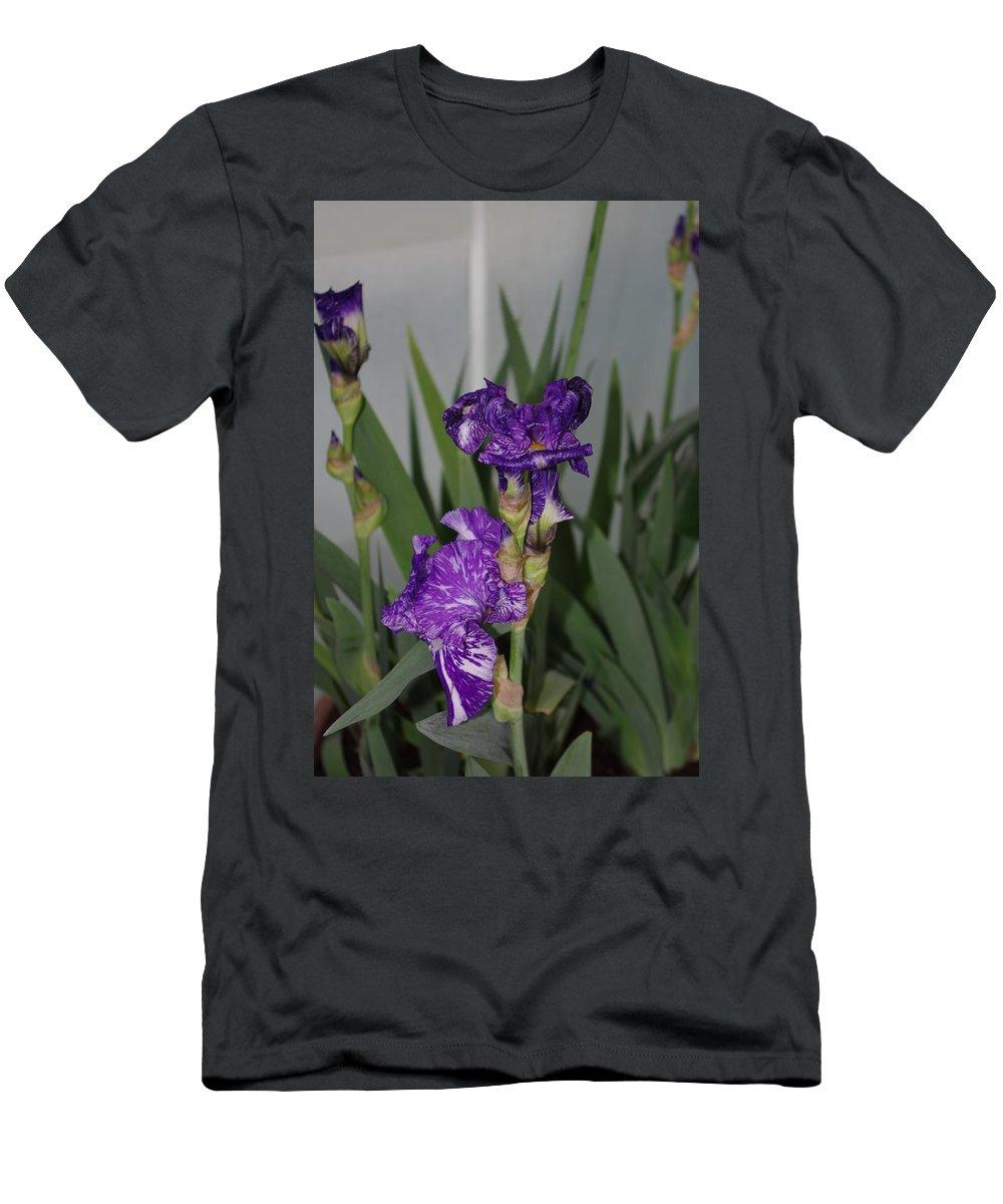 Dark Purple Iris Men's T-Shirt (Athletic Fit) featuring the photograph Iris by Alice Markham