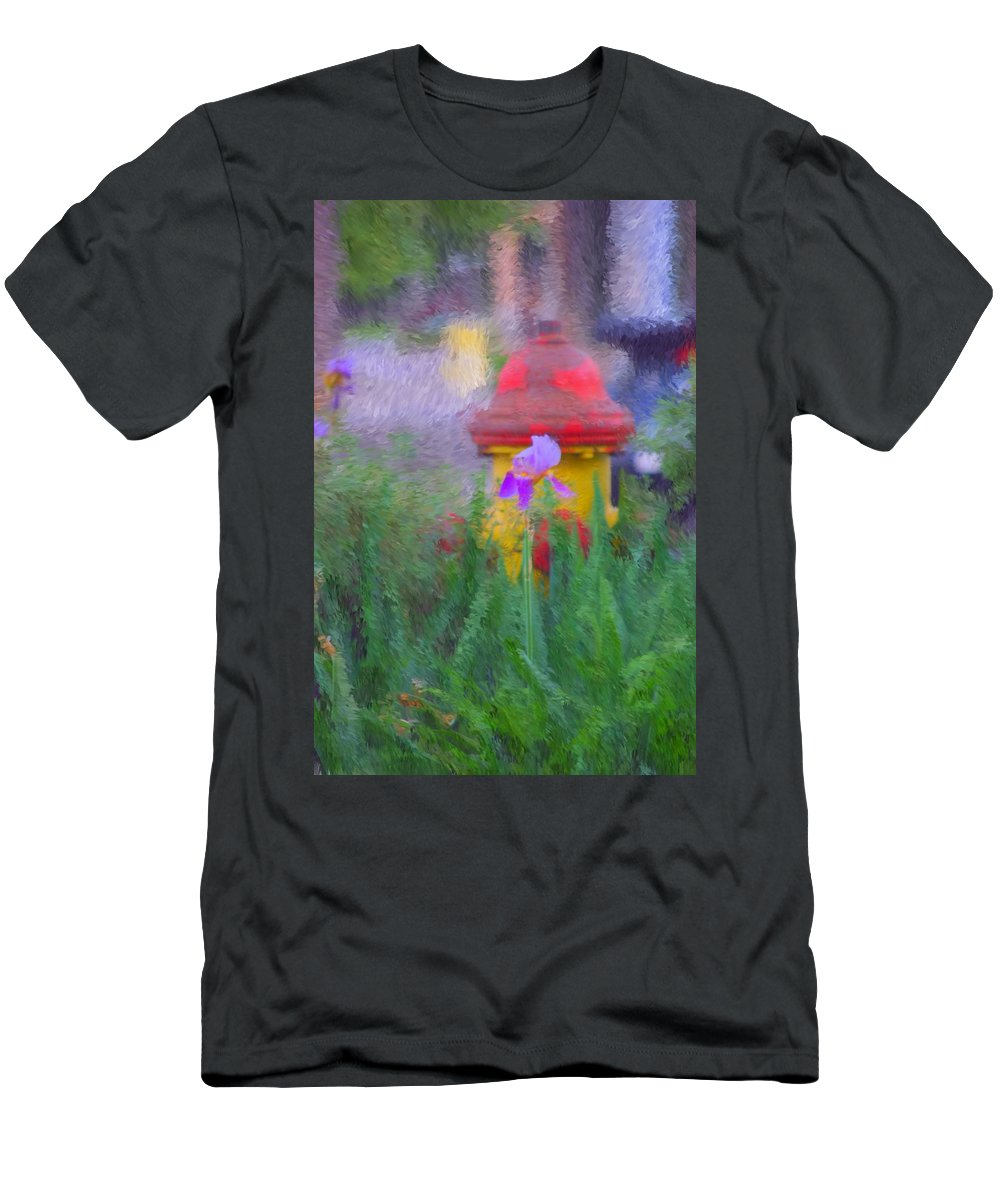 Digital Photo Men's T-Shirt (Athletic Fit) featuring the photograph Iris And Fire Plug by David Lane
