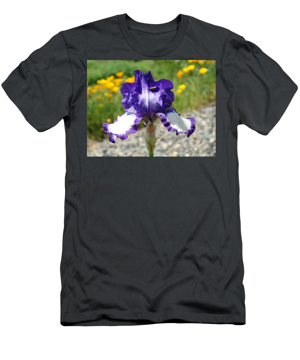 �irises Artwork� Men's T-Shirt (Athletic Fit) featuring the photograph Iris Flower Purple White Irises Nature Landscape Giclee Art Prints Baslee Troutman by Baslee Troutman